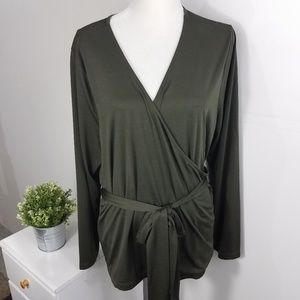 Eloquii New Dark Green Wrap Front Top 1828 Size 24